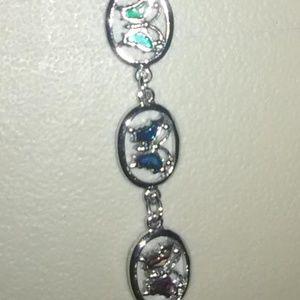 Jewelry - Silver Ankle Bracelet Multi-color Butterflies